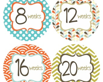 Weekly Pregnancy Stickers Belly Bump Sticker Week Baby Stickers Blue Orange Brown Maternity Pregnant Expectant Moms Photo Prop - Pat2-R