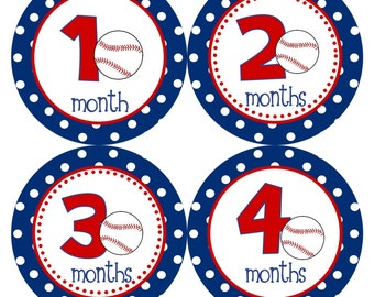 Monthly Baby Stickers Baby Month Stickers Baby Boy Red Blue Baseball Sports Monthly Milestone Sticker Baby Shower Gift and Photo Prop Logan4