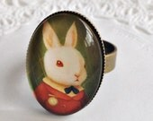 Victorian Style Ring, Bronze Brass Ring, Vintage Style Ring, Bunny Ring, Adjustable Ring, Fall Ring, Autumn Ring