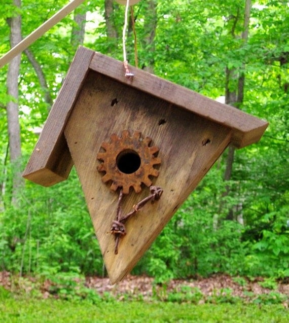 Items similar to primitive style pine wren bird house on etsy for Bird house styles