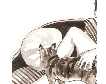 Nude Woman With Cats- Original ink and Watercolor painting - Mature