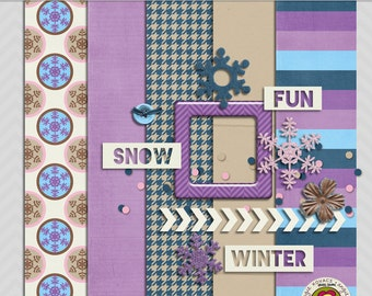 Snow Bunny Mini Digital Scrapbooking Kit