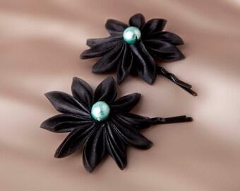 "Small silk flower hair clips ""Cléopâtre"""