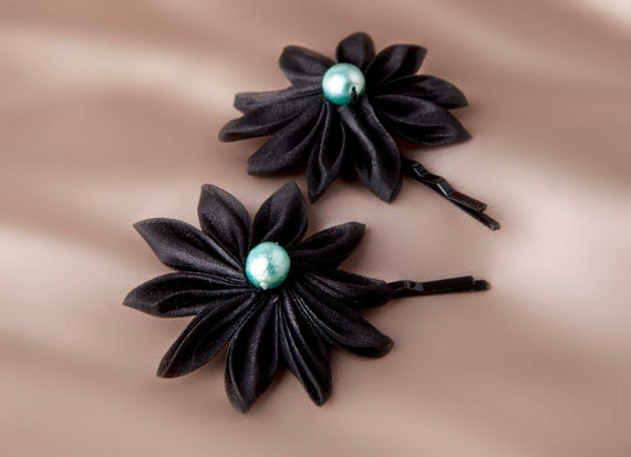 "Small silk flower hair clips ""Cléopâtre"", birthday or Christmas gift"