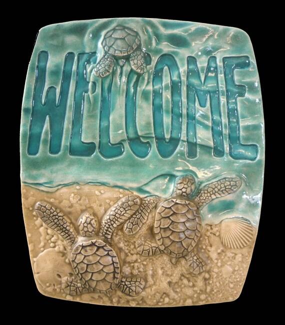 Art Tile Quot Baby Sea Turtle Welcome Quot Ceramic Tile 5x6