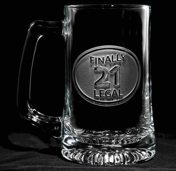 21st Birthday Beer Mug Glass Engraved