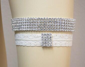 KRISTEN - Modern Wedding Garter Set, Wedding Ivory Stretch Lace Garter, Rhinestone Crystal Bridal Garter Set