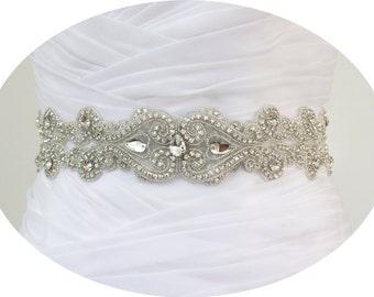 SALE - DOROTHY II - Crystal Rhinestone Bridal Beaded Sash Belt, Wedding Dress Sash, Bridal Crystal Belts