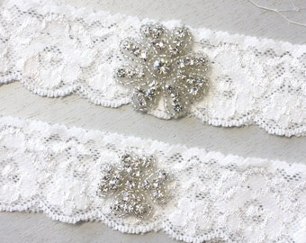 ZOEY -Light Ivory Stretch Lace Bridal Garter Set, Wedding Garter, Flower Rhinestone Crystal Bridal Garter Set