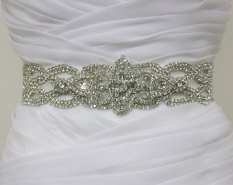 CHARLOTTE - Vintage Inspired Crystals Bridal Sash, Rhinestone Bridal Belts, Wedding Beaded Sashes, Rhinestone Wedding Belt