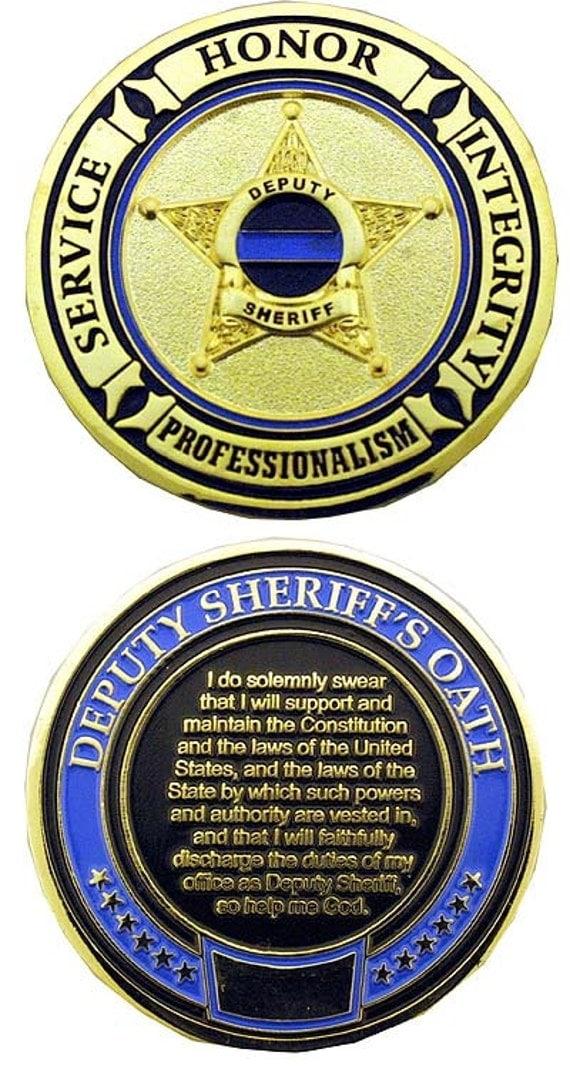 Deputy Sheriff S Oath Thin Blue Line Challenge Coin Each