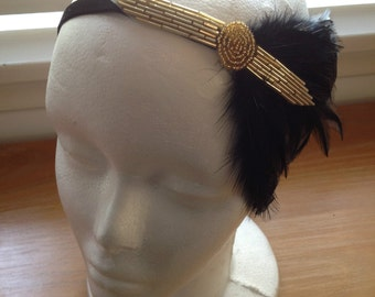 Great Gatsby Party 1920s Gold Headband, Rhinestone Headband Feather Headband, Gold and Black Flapper Headband