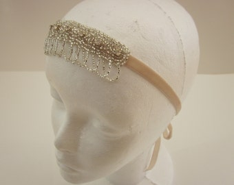 Great Gatsby Headpiece, Rhinetsone 1920s headband crystal flapper 20s Downton Abbey headband, Downton fascinator, crystal headpiece