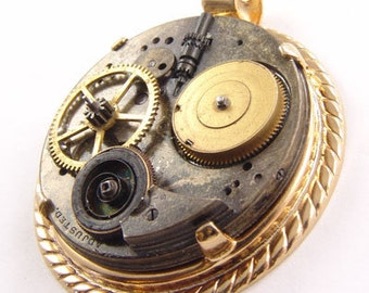 Steampunk Vintage Pocket Watch Gold Plated Pendant by Kay 47x52mm 5445