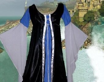 FREE SHIP Renaissance Gown Medieval Costume Black Satin Blue White 1 Piece Laceup LoTR ButtrflySlvs lxl