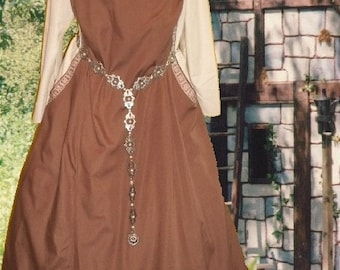 FREE SHIP SCA Garb Medieval Gown Renaissance Costume ChocoCream2pc Sideless Surcote Kirtle lxl