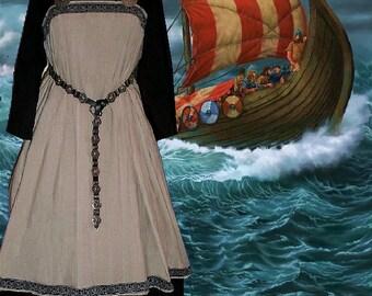 FREE SHIP Norse Viking Medieval SCA Garb Tan Linen Black Cotton Apron Kirtle Ensemble lxl