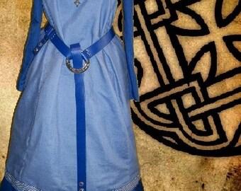 FREE SHIP Medieval Norse Viking Garb SCA Lt Blue Royal Blue Linen Apron Ctn Kirtle Undergown lxl