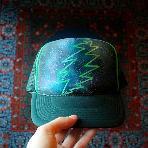 Grateful Dead Trucker Hat: Hand Painted Grateful Dead Lightning Bolt Nebula By