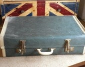 Vintage Cheney Retro Fifties Suitcase Old Blue Case 1950s Shabby Chic Luggage Prop