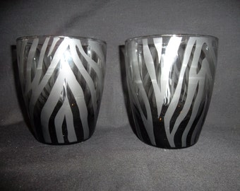 Zebra print etched glasses. Set of 2. Gift, black glass, unique.