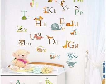 Animal Alphabets Vinyl Wall Decal  wall sticker, Special Sale
