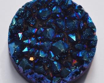 g0394 25mm Drusy druzy crystal titanium round cab cabochon Blue