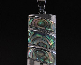 g2020  35mm Abalone shell rectangle pendant focal bead