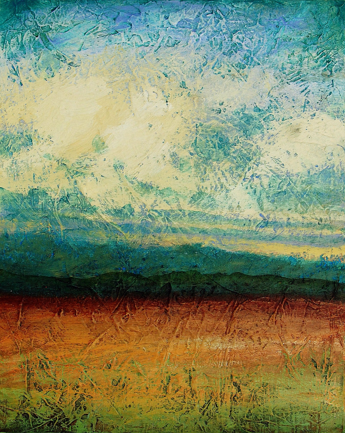 Abstract landscape painting acrylic painting sky blue peaceful for Abstract nature painting