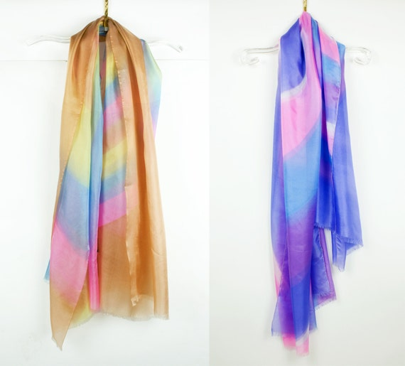 Vintage 1970s Rainbow French Silk Scarf - Purple/Yellow - Rainbow Silk Wall Hanging