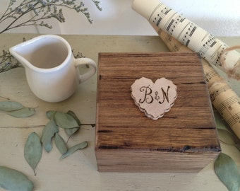 Custom wood ring bearer box with pillow