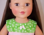 18 Inch Doll Green & Pink Daisies Dress