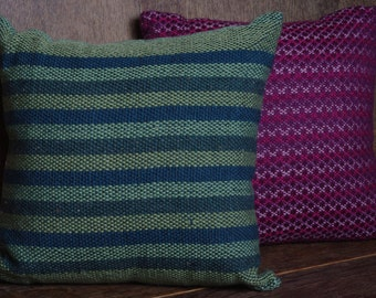 Green Striped Hand Woven Cushion