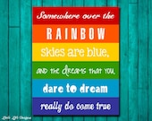 Rainbow Wall Art. Childrens Decor. Somewhere over the Rainbow. Party Decor. Playroom Wall Art. Rainbow Party. Rainbow Birthday Party.
