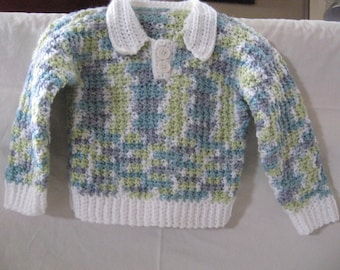 Multi-Colored Crocheted Pullover Baby Boy Sweater with Contrast Cuff, Collar, and Hem; Size 6-9 month