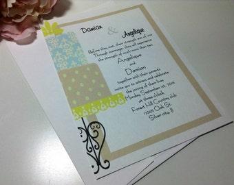 100 Wedding Invitations, invites Modern wedding cake