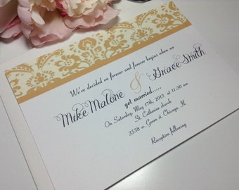 100 Wedding Invitations, invites Gold damask elegant invites