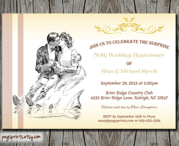 Surprise Wedding Anniversary Invitations: Surprise 50th Wedding Anniversary Invite (Printable