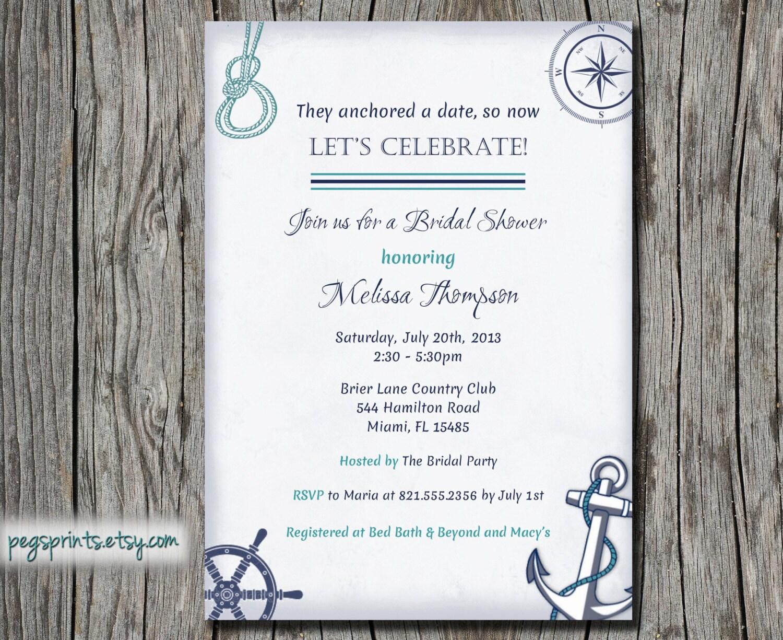 nautical bridal shower invitations etsy - 28 images - items similar ...
