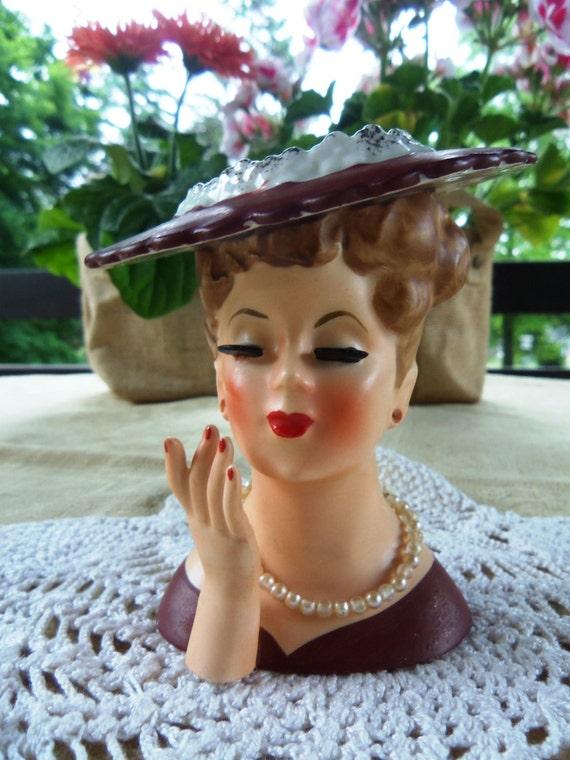 Vintage 1958 Napco Lady Head Vase