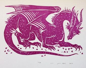 Dragon Linocut