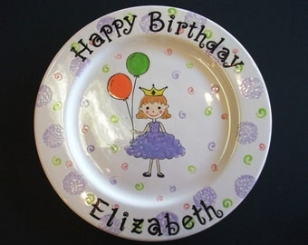 Personalized Hand Painted Ceramic Birthday Plate or Special Occasion Plate