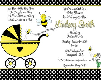 Baby Shower Invitation Bae-Bee-Printable Mother to Bee Invite