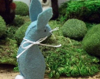 Blue Wool Blend Felt Bunny With White Bow