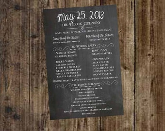 Wedding Program Party and Ceremony Chalkboard Printable - DIY, weddings, home decor, engagement, party, save the date, anniversary
