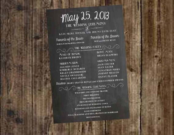 Wedding Program Party And Ceremony Chalkboard Printable DIY
