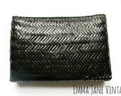 Little black dress Vintage woven straw clutch