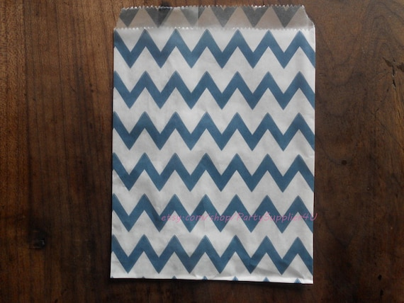 Favor Bags 50 Navy Blue Chevron Paper Favor Bags-Kids Gift Bags-Bridal ...