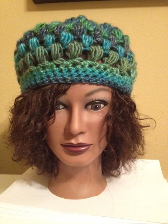 Free Crochet Pattern Multi Colored Hat : Puff Stitch Crochet Hat. Multi colored with teal blue and