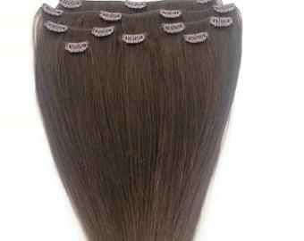 18 inches 7pcs Clip In Human Hair Extensions 3 Medium Dark Brown